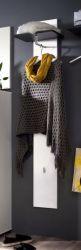 Wandgarderobe Garderobenpaneel Sol Lack Hochglanz weiß und grau 35x160 cm