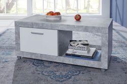Couchtisch auf Rollen in Beton Stone Design grau und weiß Wohnzimmertisch 110 x 59 cm