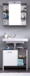 Badmöbel Set California weiß und Rauchsilber 2-teilig mit Spiegelschrank und Waschbeckenunterschrank 60 x 180 cm