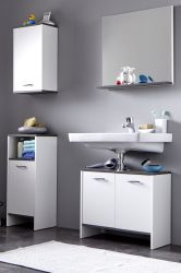Badmöbel Set California weiß und Rauchsilber Badezimmer 4-teilig 112 x 180 cm