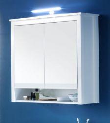 Bad Spiegelschrank Ole weiß Landhaus Badschrank 80 cm inkl. LED Spiegellampe