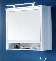 Spiegelschrank Badmöbel Ole in weiß 81 x 80 cm optional mit LED Aufsatzleuchte