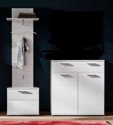 Flur Garderobe Ice Garderoben-Set 3-teilig in weiß Hochglanz mit Rillenoptik 166 x 191 cm