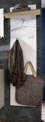 Wandgarderobe Garderobenpaneel Sol Lack Hochglanz weiß und Alteiche Dekor 53x160 cm