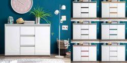 Sideboard Sol in Hochglanz weiß Lack mit Absetzung in 6 verschiedenen Farben Kommode 119 x 84 cm