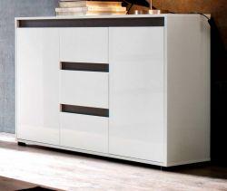 Sideboard Anrichte Sol in Lack Hochglanz weiß und grau Dekor 119 x 84 cm