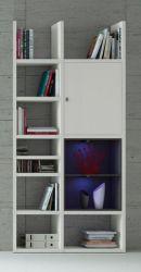 Bücherregal Bücherwand MDor Dekor Lack weiß matt schwarz LED-Beleuchtung Breite 108 cm