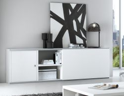 Sideboard MDor Dekor Lack weiß matt mit Schiebetür Breite 241 cm
