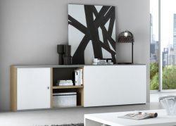 Sideboard MDor Eiche Natur Lack weiß matt mit Schiebetür Breite 241 cm