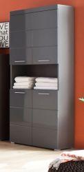 Badezimmer Hochschrank breit Amanda in Hochglanz grau Badmöbel 73 x 190 cm
