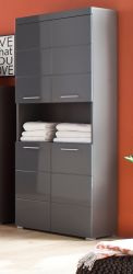 Badezimmer Hochschrank Amanda in grau Hochglanz 73 x 190 cm