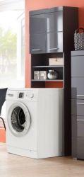 Waschmaschinenüberbau Schrank Amanda in Hochglanz grau Waschmaschinenumbauschrank 63 x 187 cm