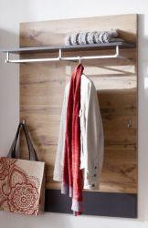 Garderobenpaneel Coast in Wotan Eiche Dekor und grau Flur Garderobe 80 cm