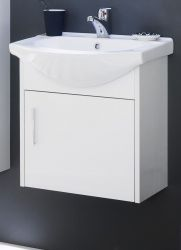 Waschbeckenunterschrank komplett mit Keramik-Waschbecken Hochglanz weiß 50 x 53 cm Waschplatz Jersey