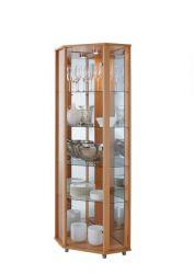 Eckvitrine Glasvitrine Buche mit Spiegelrückwand und LED Beleuchtung