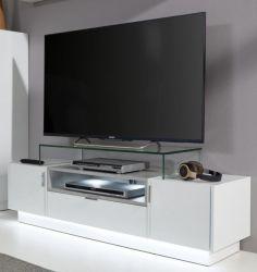 TV-Unterteil Lowboard Atlanta in Hochglanz weiß und Stone grau 140 x 38 cm