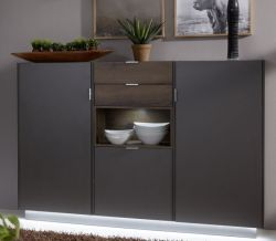 Highboard Kommode Atlanta in Terra grau und Monastary Oak Eiche Dekor 170 x 121 cm