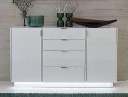 Sideboard Kommode Atlanta in Hochglanz weiß 150 x 86 cm