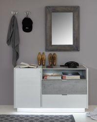 Garderobe Garderobenschrank Atlanta in Hochglanz weiß und Stone grau 120 x 73 cm Flur Kommode