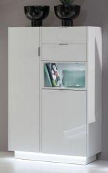 Garderobe Garderobenschrank Atlanta in Hochglanz weiß 82 x 128 cm Flurschrank