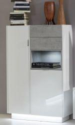 Garderobe Garderobenschrank Atlanta in Hochglanz weiß und Stone grau 82 x 128 cm Flurschrank