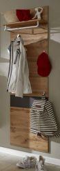 Garderobenpaneel Coast in Wotan Eiche Dekor und grau Melamin Flur Garderobe 50x180 cm