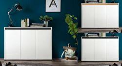 Sideboard Sol Lack Hochglanz weiß und Alteiche Anrichte 119 x 84 cm 3-türig