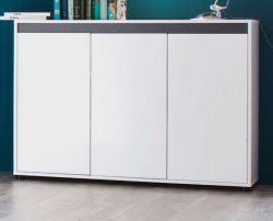 Sideboard Sol Lack Hochglanz weiß und grau Anrichte 119 x 84 cm 3-türig