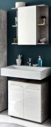 Badmöbel Set Nano in weiß Hochglanz und Stone Design grau Badkombination 2-teilig 60 x 182 cm