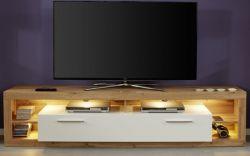 TV-Lowboard Rock in weiß Hochglanz und Wotan Eiche Fernsehtisch Breite 200 cm