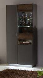 Vitrine Atlanta Terra grau und Monastary Oak Dekor Vitrinenschrank 82 x 188 cm