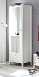 Garderobenschrank Ole in weiß 62 x 192 cm mit Spiegel und Schublade
