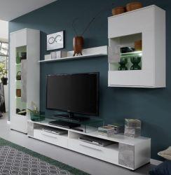 Wohnwand Jump in weiß Glanz und Stone grau 265 x 182 cm Schrankwand 4-teilig