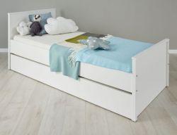Bett Ole in weiß 90 x 200 cm als Jugendbett mit Stauraum oder Gästebett