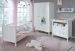 Babyzimmer Ole komplett Set 4-teilig weiß mit Wickelkommode Babybett XXL-Kleiderschrank und Wandregal