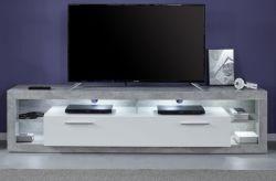 TV-Lowboard Rock in weiß Hochglanz und Stone Design grau Fernsehtisch Breite 200 cm