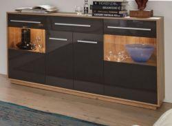 Sideboard Kommode Kuba in grau Glanz und Alt Eiche Anrichte 170 x 85 cm