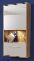 Hängevitrine Kuba in weiß Glanz und Alt Eiche 50 x 112 cm