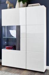 Vitrine Tokyo in weiß Hochglanz und Sardegna grau Highboard 92 x 142 cm