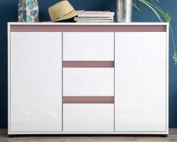 Sideboard Anrichte Sol in Lack Hochglanz weiß und altrosa Kommode 119 x 84 cm rosa
