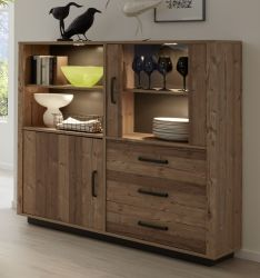 Highboard Lodge in Bramberg Fichte Vitrine 131 x 133 cm