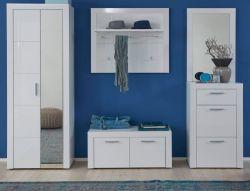 Garderobe Kito in Hochglanz weiß 5-teiliges Garderobenset mit Schuhbank und Kommode 249 x 200 cm