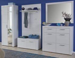 Garderobe Kito in Hochglanz weiß 5-teiliges Garderobenset mit Schuhbank und Garderoben- / Schuhschrank 294 x 200 cm