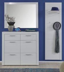 Garderobe Kito in Hochglanz weiß 3-teiliges Garderobenset mit Schuhkommode und Garderobenpaneel 171 x 200 cm