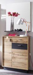 Flur Garderobe Coast Wotan Eiche Dekor und grau Garderoben Set mit Kommode und Spiegel 69 cm inkl. Beleuchtung