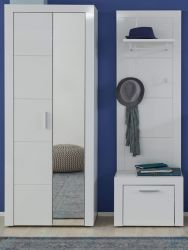 Garderobe Kito in Hochglanz weiß 3-teiliges Garderobenset mit Garderoben- / Schuhschrank und Wandpaneel 136 x 200 cm