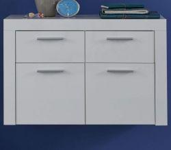 Schuhkommode Kito in Hochglanz weiß Garderobenschrank hängend 103 x 64 cm