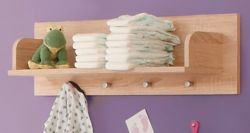 Babyzimmer Wandboard Carlotta in Eiche hell sägerau Bücherregal 80 cm