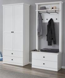 Garderobe Baxter 3-teilig in weiß Landhaus Garderobenset mit Schrank, Paneel und Schuhbank  177 x 196 cm