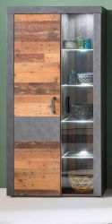 Vitrinenschrank Indy in Old Used Wood Design mit Matera grau Vitrine Shabby 87 x 189 cm inkl. Beleuchtung